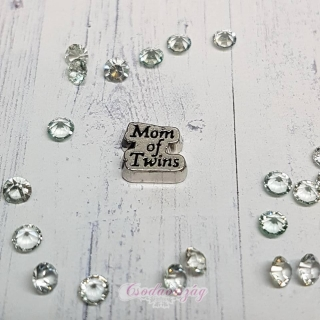 """Mom of twins"" emlékőr charm"